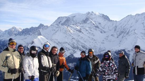 Ski face au Mont-Blanc